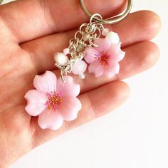 Sakura Cherry Blossom Keychain Polymer Clay by DaCraftyLilninja Polymer Clay Kawaii, Polymer Clay Charms, Polymer Clay Creations, Polymer Clay Jewelry, Sakura Cherry Blossom, Cherry Blossoms, Kawaii Things, Metal Clay Jewelry, Cute Clay