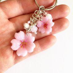 Sakura Cherry Blossom Keychain Polymer Clay by DaCraftyLilninja