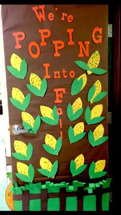 Looking for inspiration for fall bulletin boards or classroom doors? Try one of these fall themes or Halloween bulletin board ideas. Fall Classroom Door, Classroom Bulletin Boards, Classroom Crafts, Infant Classroom Ideas, Thanksgiving Classroom Door, Thanksgiving Bulletin Boards, Preschool Door Decorations, Fall Door Decorations, Toddler Classroom Decorations