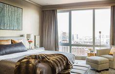 Interior Design group Terrat Elms featured Leos Luxe Linen 5304 Hepburn Heather in a bedroom of a client's home.
