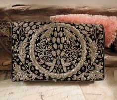 Vintage Black Velvet Silver Thread Handbag / by vintageaddie