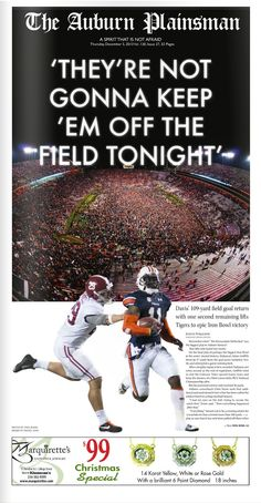 Not gonna keep them off the field tonight! www.RollTideWarEa... Sports stories that inform and entertain plus FREE football rules tutorial, check it out. #Auburn