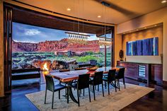 This dining room opens up to the natural beauty of the outdoors | Utah Style & Design