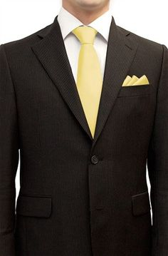 Henkaa Tie and Pocket Square Set Butter Yellow