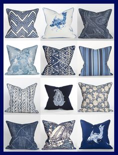 Ralph Lauren Blue & White Fabrics @ Coastal Home Pillows