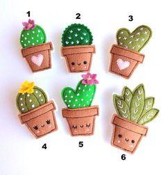 Felt cactus brooches handmade brooch choose your favorite - basteln Felt Crafts Diy, Felt Diy, Cute Crafts, Fabric Crafts, Sewing Crafts, Crafts For Kids, Felt Christmas, Christmas Crafts, Cactus Craft