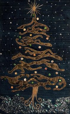 Christmas In The Snow (c) 2012 by Kit Lang.  The Art Quilt Blog.