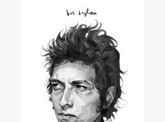 HelloVon Studio www.hellovon.com Leading portrait illustrator. Bob Dylan print for ShopVon. Illustration, contemporary, atmospheric, modern, motion, music, portrait, painting, flag, ink, celebrity, hero, iconic