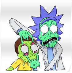 Lienzo 'Rick y Morty' de Megan Wickham - - Trippy Rick And Morty, Rick And Morty Drawing, Rick And Morty Tattoo, Trippy Cartoon, Cartoon Art, Trippy Drawings, Easy Drawings, Ricky Y Morty, Rick And Morty Stickers