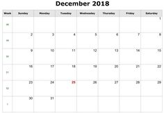 The 31 best December 2018 Calendar Templates images on Pinterest in ...
