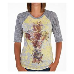 Women's Floral T-Shirt in Yellow/Grey by Daytrip. (€17) ❤ liked on Polyvore featuring tops, t-shirts, yellow grey burnout, yellow t shirt, floral raglan tee, raglan tees, yellow top and floral tops