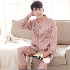 2019 Spring Summer Women Man Faux Silk Satin Pajamas Set 2 Pcs Long Sleeves Couple Sleepwear Pajamas Suit Shorts 15 M