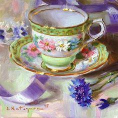"Daily Paintworks - ""Teacup and Lilac Ribbon"" - Original Fine Art for Sale - © Elena Katsyura"