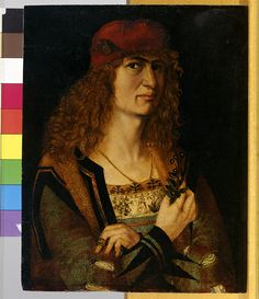 Portrait of a Bridegroom. Painting on paper, mounted on alder wood. The bridegroom is richly attired. In his right hand he holds a bouquet of forget-me-nots. The panel has been regarded as a work by Dürer or Wolgemut since the 18th c. The eyes, countenance and posture testify to the influence of Dürer's Madrid self-portrait of 1498. Elsner, Jakob (um 1460-1517) Datierung: um 1498 Inventarnummer: Gm163