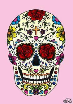 Sugar Skull Design, Sugar Skull Art, Sugar Skulls, Mexican Skulls, Mexican Folk Art, Future Tattoos, New Tattoos, Heart Tattoos, Tatoos