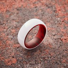 White Ceramic Ring - Red Sandalwood - 8MM