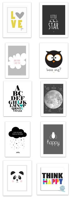 10 Lovely Black + White Free Printable Posters for Modern Baby Room/visit my…