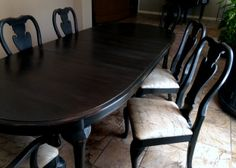My latest project.. Using Annie Sloan Paris Gray base Paint & Graphite overlay.  Distressed & applied clear soft wax & dark wax over Oak wood table & chairs.  Love the results!