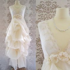 ELENA Cream Floral Embroidery Lace Romantic Long by FoldedRoses, $270.00