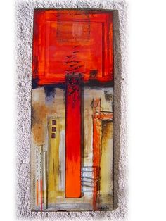"M Beneke kiln fused glass tile with dicrohic and copper wire inlays 50x20cm ""Abstract Series"""