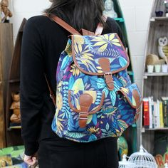 Jungle Bag - Big Backpack - Blue / Teal | Hip Angels Beautiful Jungle Backpack with two external pockets for those small items and two internal pockets where one comes with a zipper. This backpack is very comfy and its good enough to carry all the school supplies.  #Scarves_wholesale #Bags_wholesale #Jungle_bags #Flowersbags #Backpackwholesale #Big_backpack