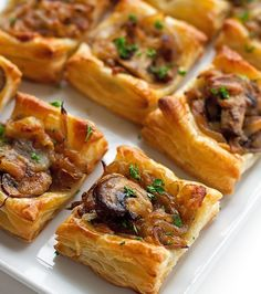 Gruyere Mushroom & Caramelized Onion Bites with sautéed crimini mushrooms, balsamic caramelized onions, and applewood smoked gruyere cheese. made with puff pastry Carmelized Onions And Mushrooms, Mushroom Appetizers, Cheese Appetizers, Mushroom Tart, Puff Pastry Recipes, Puff Pastries, Appetisers, Appetizer Recipes, Gourmet