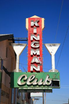 Colorful neon sign for the Kingman Club, on old Rt. 66 in Arizona.