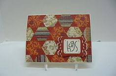 hand crafted card:Warm Quilted Hugs by octoberbabe  ... punched hexagons .... optical illusion of triangles where the base layer shows through ... trellis embossing folder melds the twon layers into one  ... luv the Fall colors ... Stampin' Up!