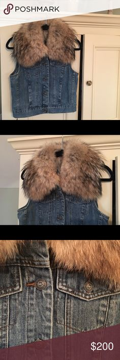 Michael Kors real fur neckline Jean vest Michael Kors REAL fur neckline Jean vest NEVER WORN still has tags on it MICHAEL Michael Kors Jackets & Coats Vests