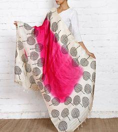 Beige, Black & Pink Tussar Silk Dupatta