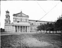 Roma - Basilica di S. Paolo fuori le mura, veduta del fianco sinistro con il campanile Cronologia del fototipo sec. XIX seconda metà
