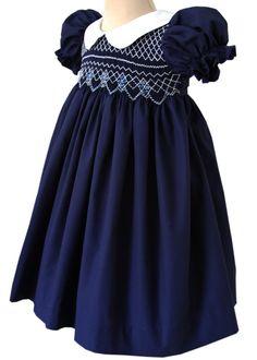 Beautiful+Bliss+Navy+Classic+Smocked+Girls+Dress+–+Carousel+Wear