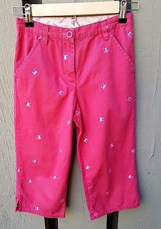 LL Bean Crab Pants Girls Size 10 Nantucket Red Summer