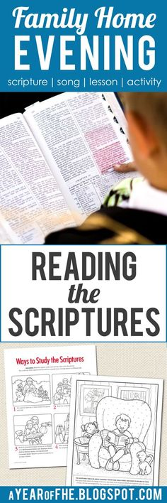 A Year of FHE // Free Family Home Evening lesson on Reading the Scriptures with activities for younger and older kids! #lds