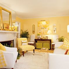 30 Awesome Yellow Living Room Color Schemes That People Never Seen - Barthram News Yellow Walls Living Room, Cottage Living Rooms, Living Room Color Schemes, Living Room Paint, Living Room Modern, Living Room Designs, Living Room Decor, Yellow Rooms, Yellow Chairs