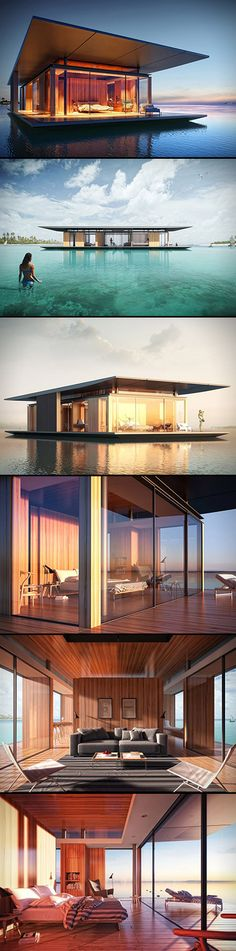 If a building is in the ocean were the sunset or sunrise can see that place would get a nice reflection to the lack or ocean while the sun is going or up .