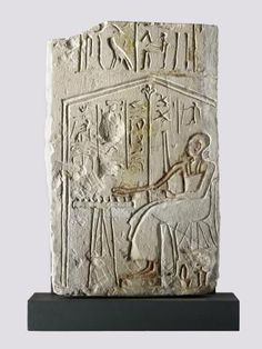 Portion of relief in limestone showing the vizier Paser seated in a kiosk playing senet: Ancient Egyptian, probably from Thebes, 19th Dynasty