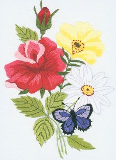 JANLYNN-Crewel Embroidery Kit. This kit contains design screen printed on white crewel fabric, carded six-strand cotton floss, needle, graph and instructions. Finished size: 7x5in. Design: Butterfly &