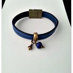 Bracelet cuir bleu marine, 2 lanières de cuir 5 mm, passe cuir cuivre , 3bc9c8b98f3