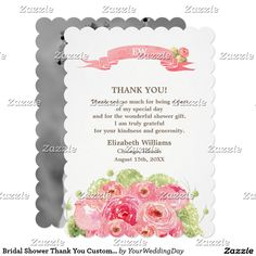 Bridal Shower Thank You Custom Photo Cards.  Romantic Rose Watercolor Painting Design Bridal Shower Thank You Flat Cards with personalized photo on the back. Matching Bridal Shower Invitations, Wedding Invitation Cards, Save the Date Cards , Wedding Postage Stamps and Envelopes, Bridesmaid to be Request Cards and other Wedding Stationery and Wedding Gift Products available in the Floral Design Category of the yourweddingday store at zazzle.com