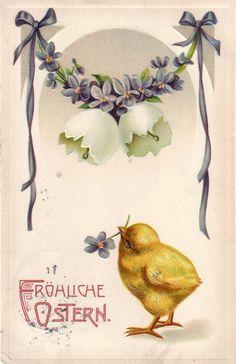 Ak Fröhliche Küken Vergissmeinicht-Girlande Prägekarte Litho gelaufen 1912 | eBay