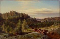Werner Holmberg - Maisema Kurusta iltavalaistuksessa - Kuru landscape in the evening light 1858 - Finland - Finnish cows