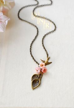 Calla Lily Necklace. Antiqued Brass Calla Lily Pink