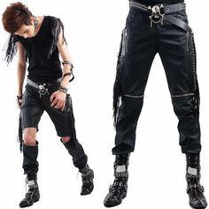 Best Cool Tassel Punk Rocker Fashion Casual Pants Shorts Mens Clothing SKU-11404116