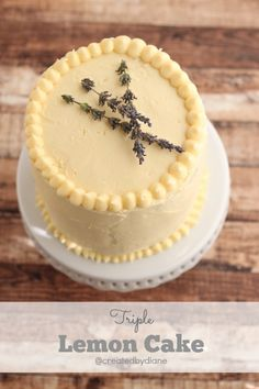 this is a three layer lemon cake with lemon pastry cream filling and lemon cream cheese frosting, really this is the END ALL of LEMON CAKES! Lemon Desserts, Lemon Recipes, Just Desserts, Delicious Desserts, Yummy Food, Lemon Cakes, Coconut Cakes, Easy Recipes, Cupcakes