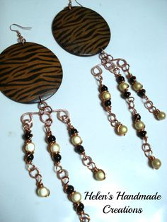 BIG BOLD LONG   wire wrapped copper earrings by helenshmcreations, £18.50