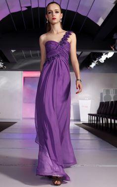 Elegant Bridesmaid Ball Purple One Shoulder Chiffon Draped Long Evening Dress