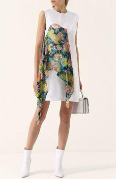 Хлопковое мини-платье с контрастной оборкой