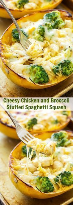 Cheesy Chicken and Broccoli Stuffed Spaghetti Squash | Spaghetti squash stuffed with a creamy, cheesy, chicken and broccoli filling and topped with more cheese! A great gluten free, low carb comfort food dinner!