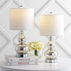 "Anya 20.5"" Mini Glass Table Lamp, Set of 2 by JONATHAN Y - On Sale - Overstock - 31270798 Table Lamp Sets, Fabric Shades, Lamp Shades, Mercury Glass, Drum Shade, Glass Table, Hand Blown Glass, Lamp Light, Bulb"